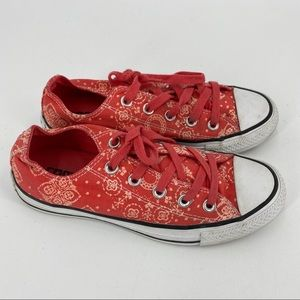 Converse floral sneakers orange red white floral